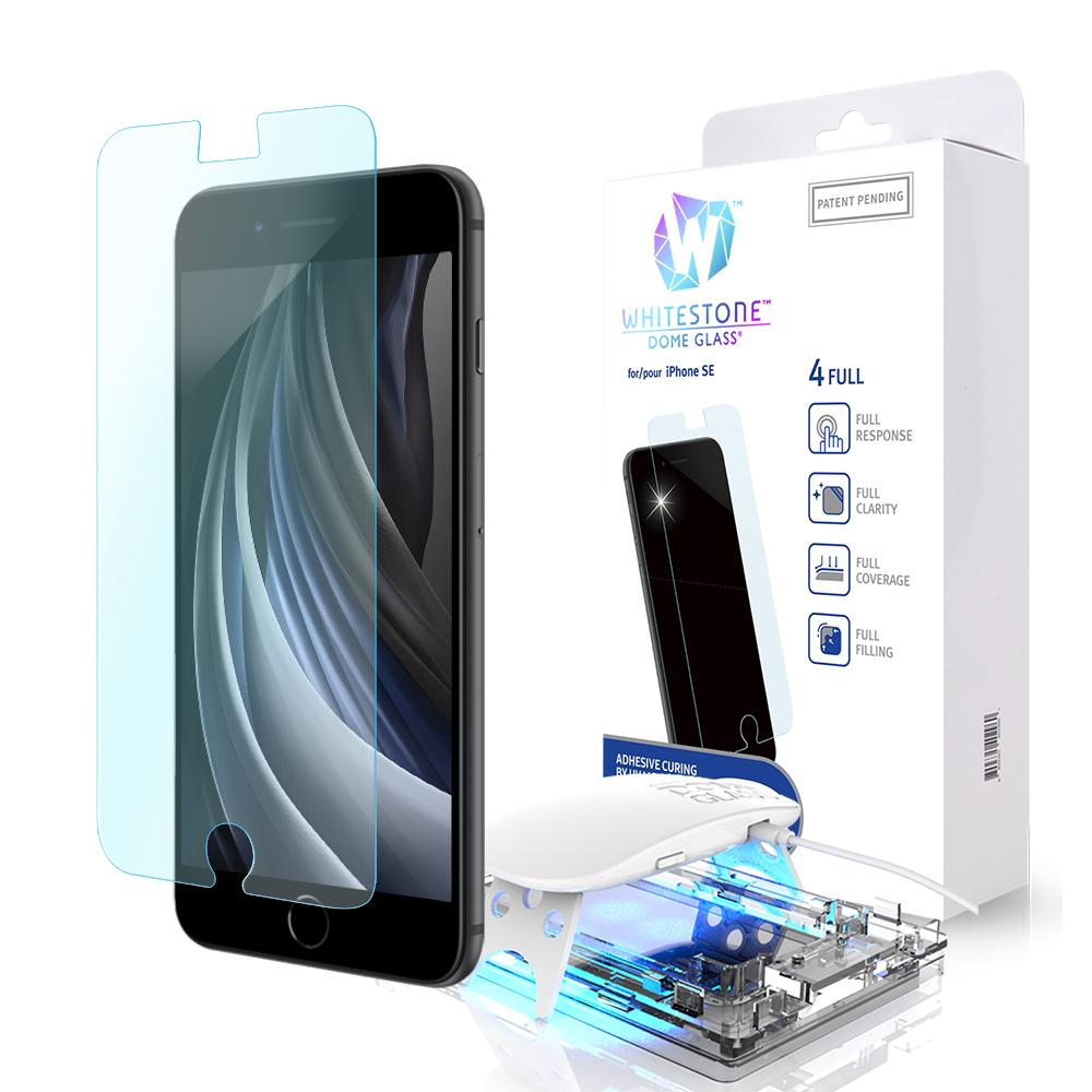 [화이트스톤] 아이폰SE2 돔글라스 액상UV경화식 풀커버 강화유리 액정보호필름