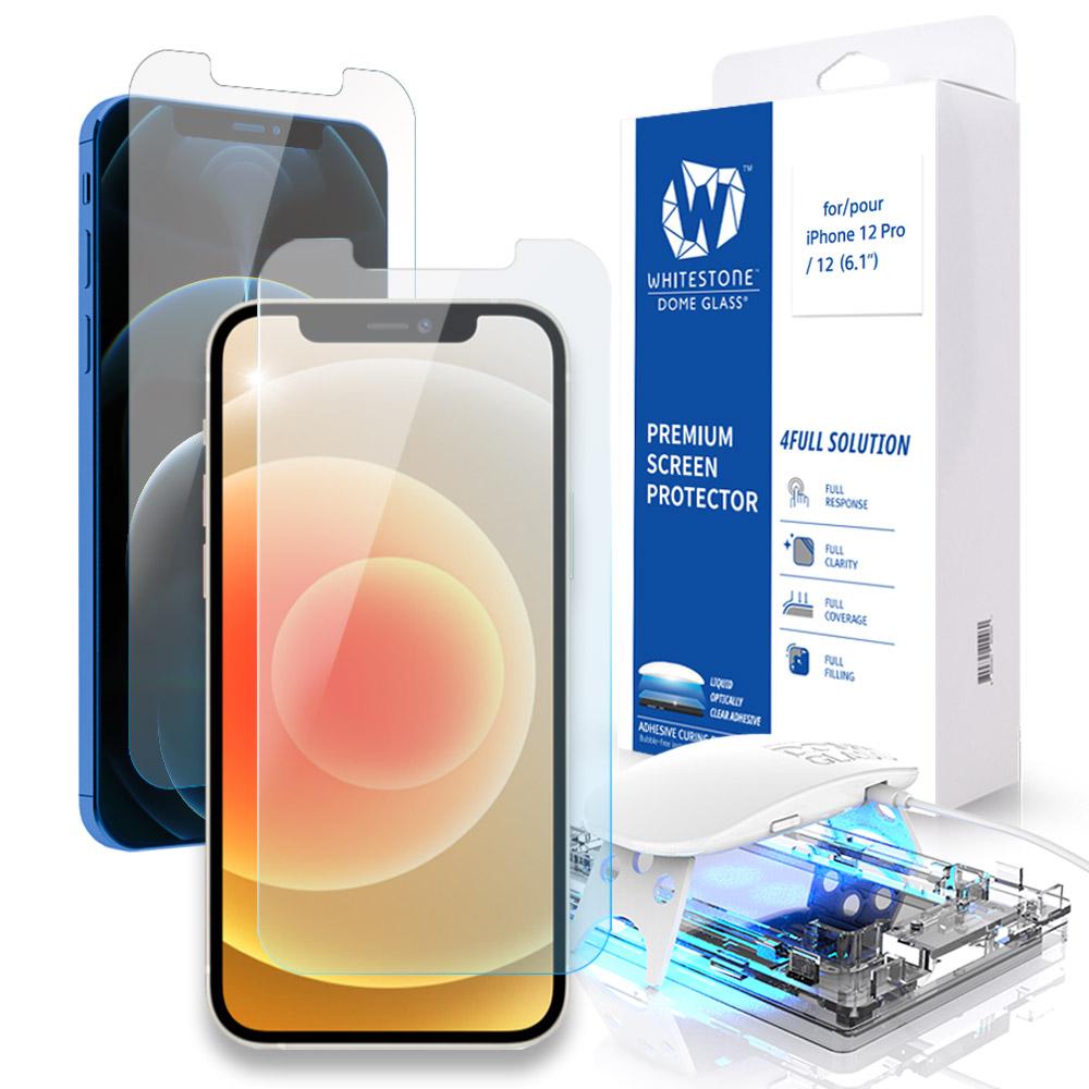 [화이트스톤]아이폰12/아이폰12프로 (6.1인치) 돔글라스 풀커버 강화유리 액정보호필름