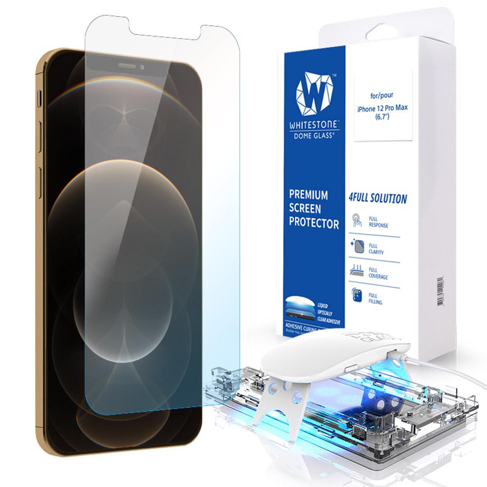 [화이트스톤]아이폰12프로맥스 (6.7인치) 돔글라스 풀커버 강화유리 액정보호필름
