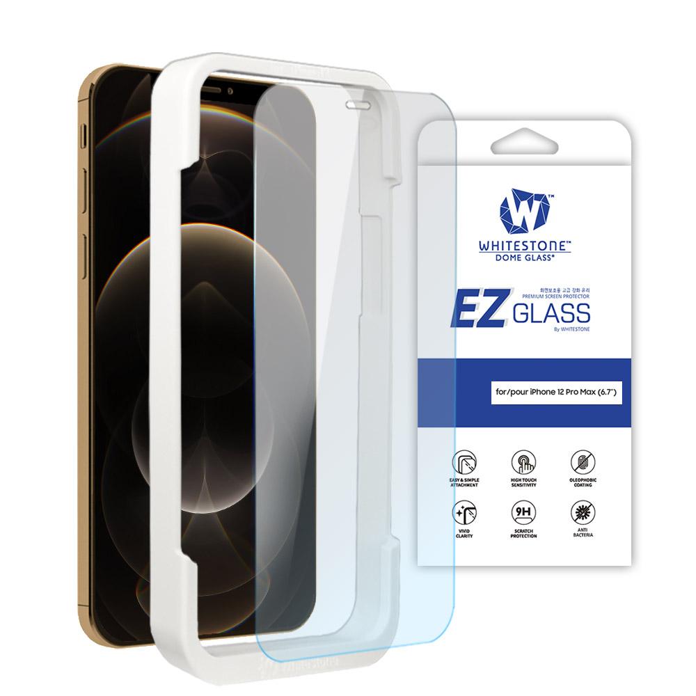 [화이트스톤][AS제외상품] 아이폰12프로맥스 (6.7인치) EZ글라스 풀커버 일반 점착식 강화유리 액정보호필름